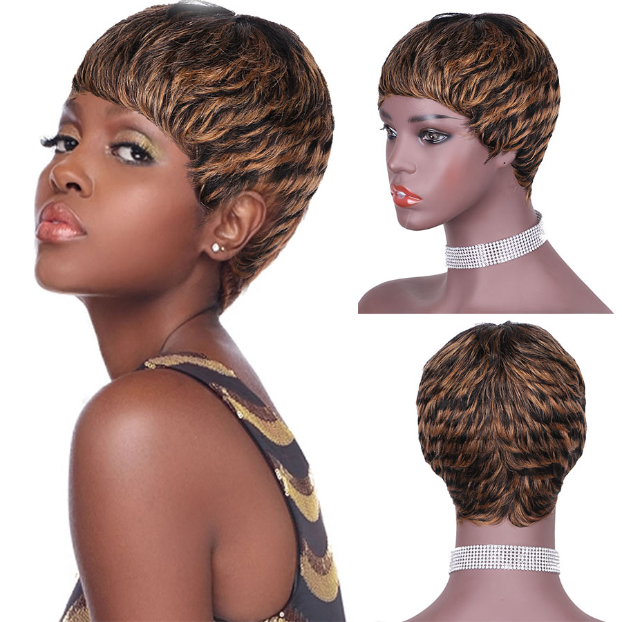 Fashion Lady Short Wigs Full Machine Wig For Business Black Women Pixie Cut Human Hair Wig Nice And Concise Venice Wave