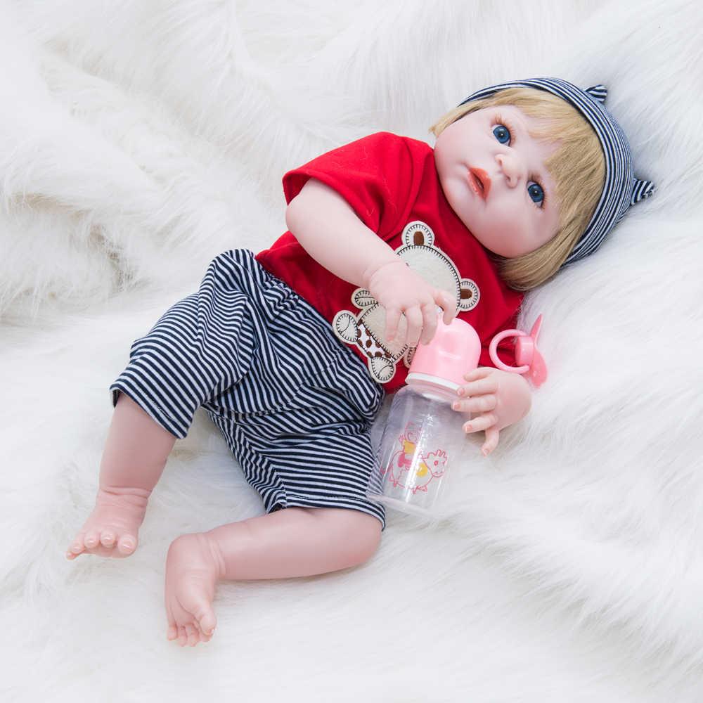 22 pollici Reale In Cerca di Bebe Reborn Bambole Bambole di Moda Corpo Pieno di Silicone Nero Della Pelle Realistica Baby Doll 55 CENTIMETRI Giocattolo Per trasporto libero i bambini Regalo Di Natale