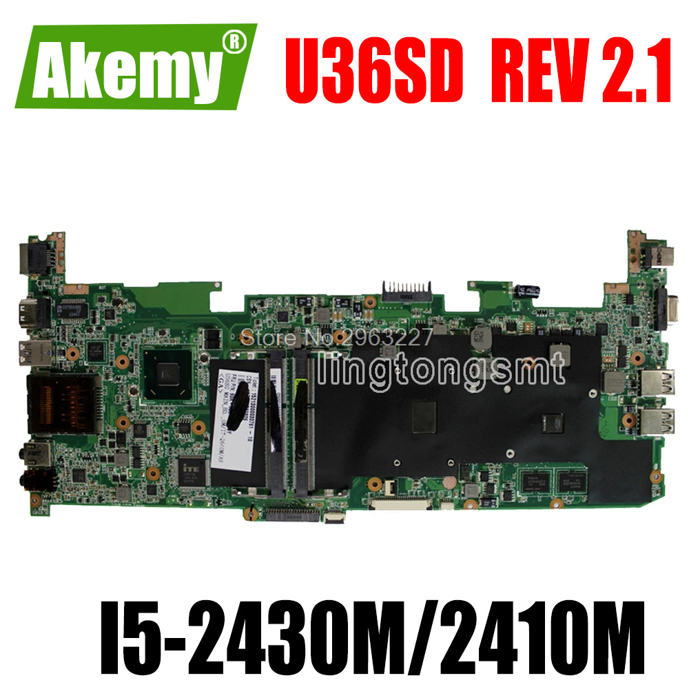 For Asus U36SD U36SG U44SG motherboard with <font><b>I5</b></font>-2430M/<font><b>2410M</b></font> CPU laptop motherboard REV 2.1 GT520 1G 100% Tested Mainboard image
