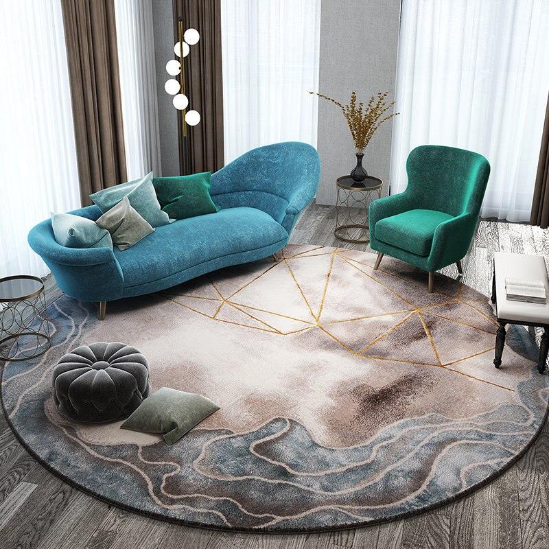 Nordic Living Room Carpet Home Decoration Round Rug Bedroom Sofa Coffee  Table Round Floor Pad Study Modern Doormat