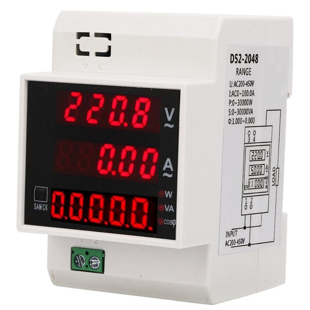 D52-2048 DIN-Rail แอมป์มิเตอร์โวลต์มิเตอร์แบบดิจิตอล AC 80-300V 200-450V แรงดันไฟฟ้า Power Meter tester Factor Analyzer