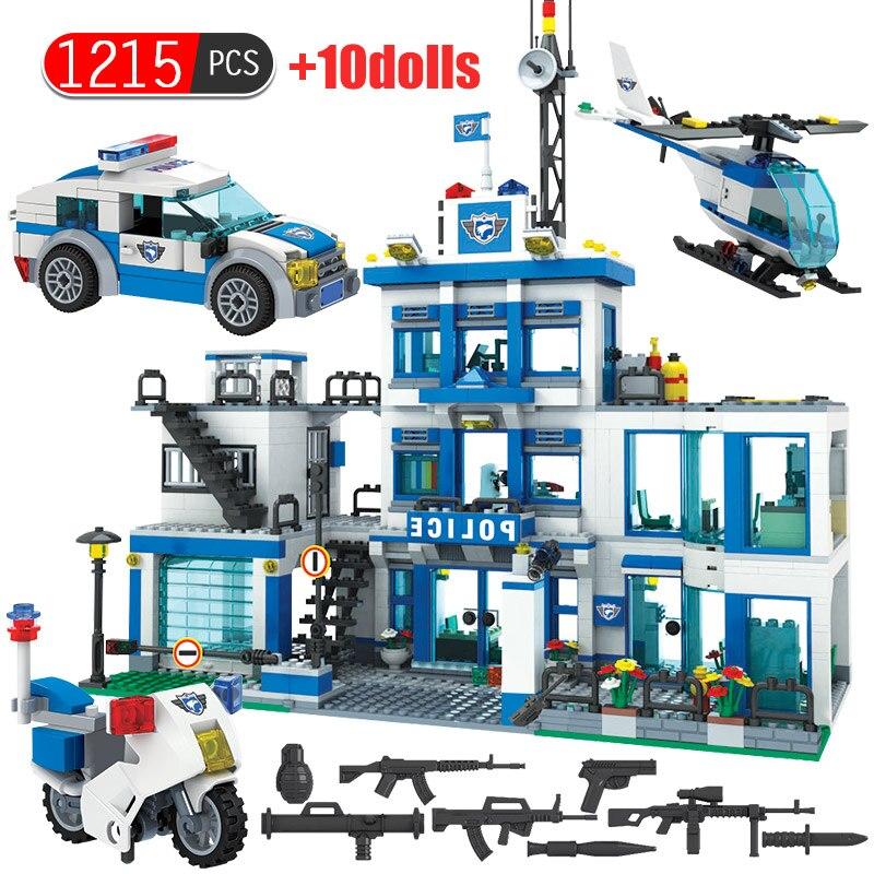 City Police Station Motorbike Helicopter Building Block Bricks Toy Children Boy