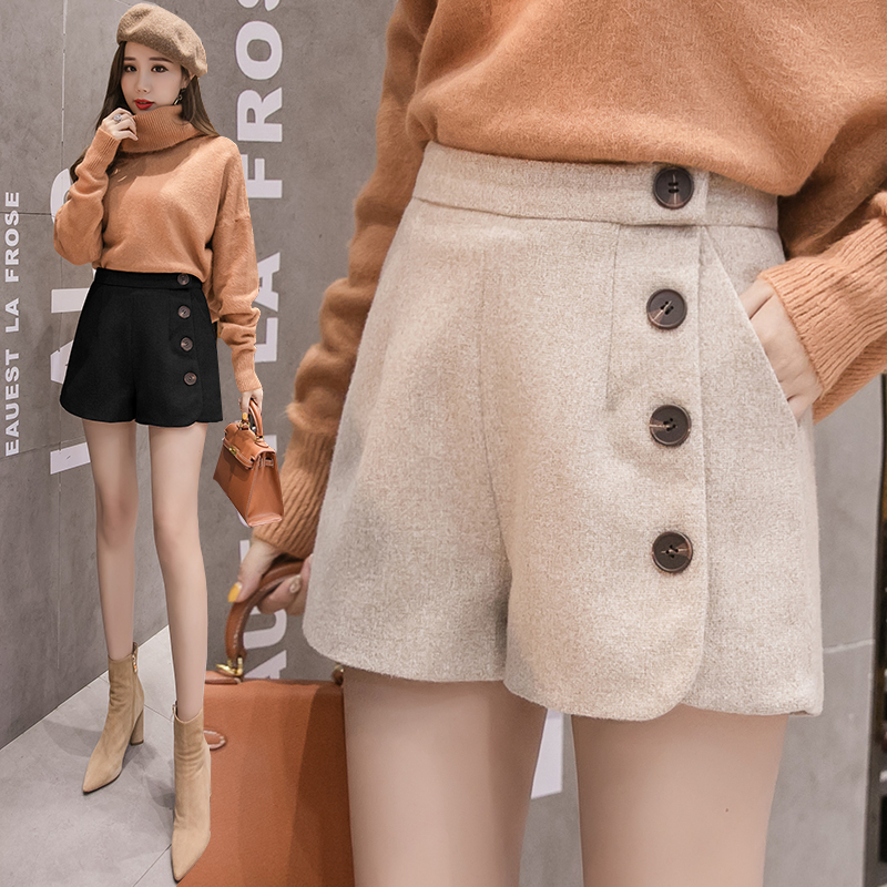 Milinsus Autumn Winter 2019 Women Short Multi button Sexy Plain Thickening Korean Fashion High Waist Shorts Female in Shorts from Women 39 s Clothing