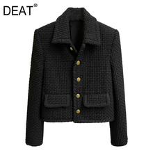 Wool Jacket Spring Winter Metal-Buttons Full-Sleeves Single-Breasted And DEAT Top-Wn41501l