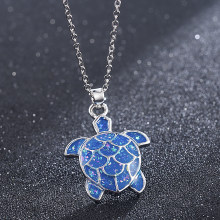 Fashion Silver Filled Blue Sea Turtle Pendant Necklace for Women Female Animal Wedding Ocean Beach Jewelry Gift Christmas Gift(China)
