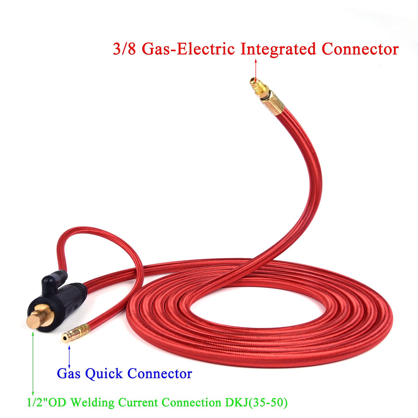Gas TIG Connector Euro 5 Wires Rubber 8 Connector WP9 Cable Welding Integrated UNF 4M 50 35 Quick Torch 13Ft Electric Hose