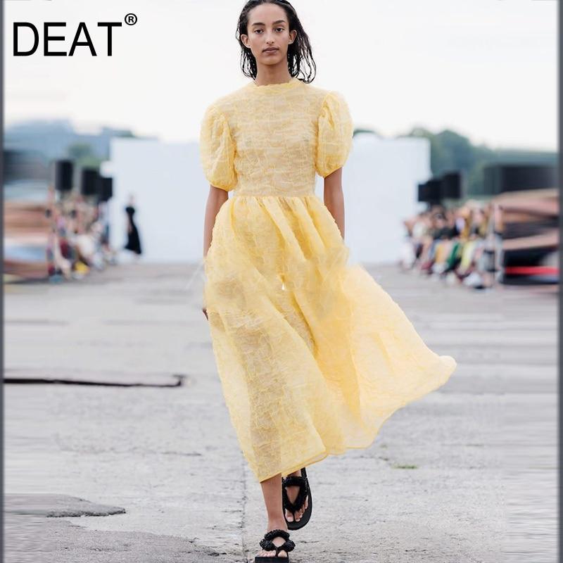 DEAT 2020 Новая Летняя женская модная одежда с круглым вырезом и короткими пышными рукавами с высокой талией, французский стиль, защита от солнца из органзы Платья      АлиЭкспресс
