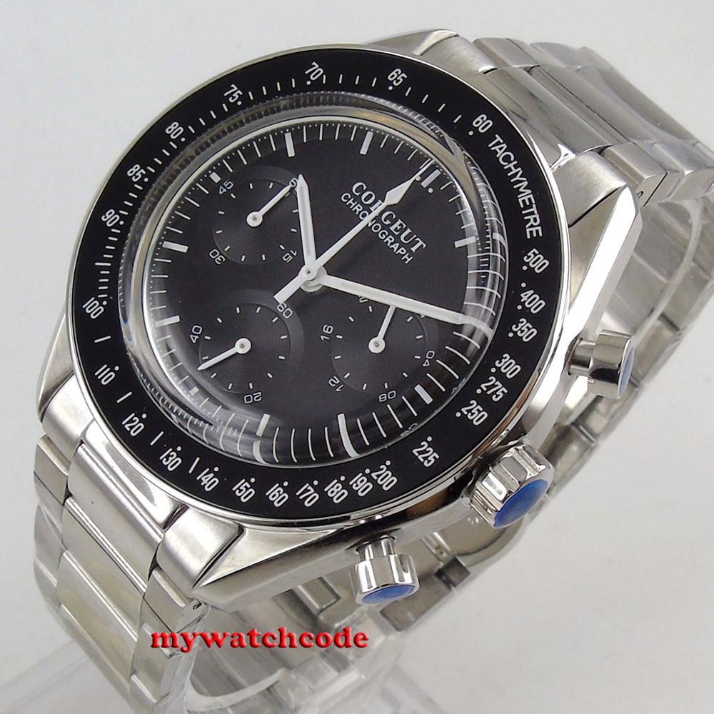 Chegam novas marca de luxo superior 40mm corgeut preto dial 24 horas aço inoxidável pulseira quartzo cronógrafo completo relógio masculino c176