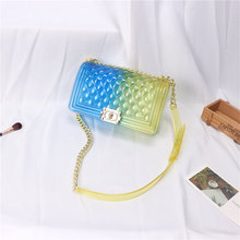Patchwork candy jelly bags crossbody plastic small transparent pvc clear bag messenger shoulder for women