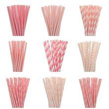 25pcs/lot Light Pink Paper Straws For Kids Birthday Party Decorations Wedding Decorative Bachelorette Supplies BabyShower