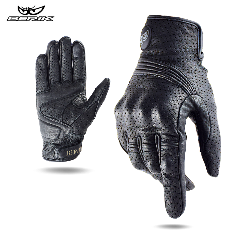 BERIK – gants de Moto en cuir pour hommes, gants de course, de vélo, de Motocross, 100% cuir véritable