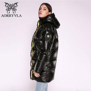 Image 4 - AORRYVLA Новая зимняя Женская куртка Толстая теплая длинная пуховая куртка Хлопковая женская парка Повседневная модная зимняя куртка женская с капюшоном 2020