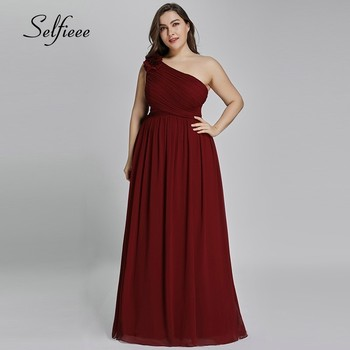 Plus Size Dresses Long Ever Pretty A-Line Burgundy One-Shoulder Burgundy Elegant Sexy Evening Gowns for Party Robe de Soiree