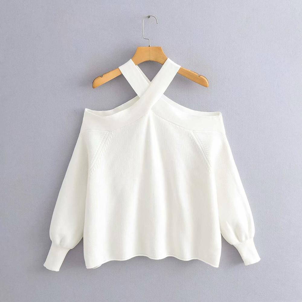 New 2020 New Women Fashion Cross Strap Off Shoulder Sweater Ladies Basic Knitted Casual Slim High Street Sweaters Chic Tops S227