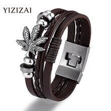 YIZIZAI pulsera de moda de cuero genuino multicapa ancla pulsera hombres Vintage Punk Rock mujeres aleación cuentas joyería náutica