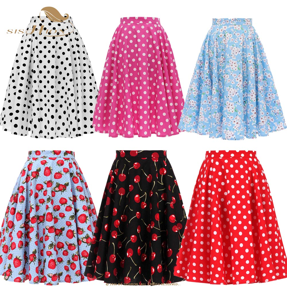 SISHION 2020 Summer High Waist Skirts Womens Cotton Polka Dot Floral Swing Pin-up 50s Retro Vintage Skirt Jupe Femme SP0677