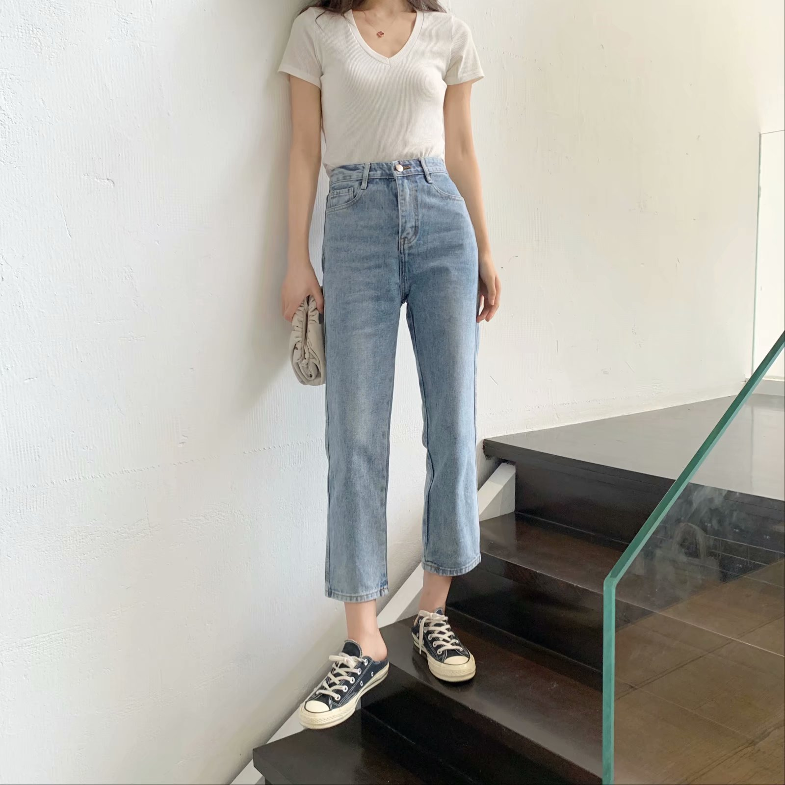 WOMEN'S Dress 2019 Autumn Jeans Women's Korean-style CHIC Retro Straight-Cut Slimming Capri Straight-leg Pants Women's Fashion