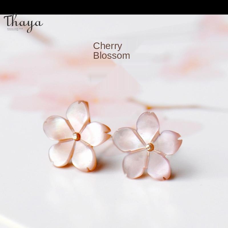 Thaya 925 Sterling Silver Cherry Blossom Earrings Female Flower Hypoallergenic Girl Stylish Earrings Trendy Fashion Earring