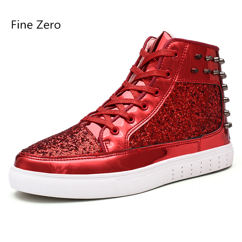 2020 Spring Autumn Unisex Lace Up Bling Shoes Male Gold Silver Studs High Tops Men Super Cool Sneakers Couple Glitter Flats