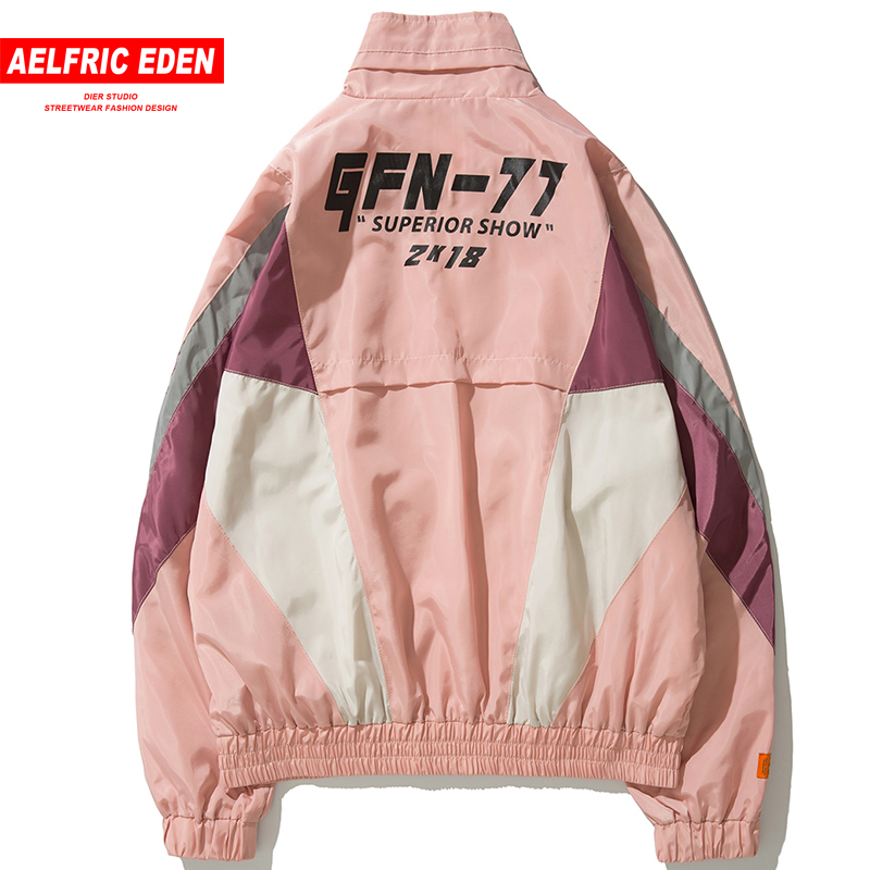 Aelfric Eden Hip Hop Windbreaker Overcoats Men Jackets 2018 Vintage Color Block Windbreaker Zip Up Casual Streetwear Jacket NC14