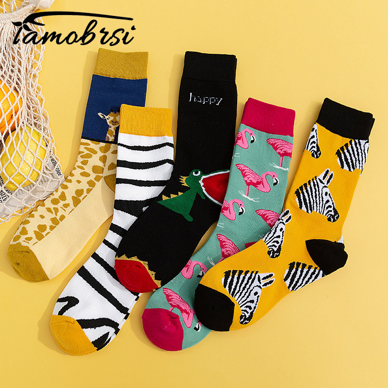 Zebra Flamingo Giraffe Dinosaur Animal Socks Streetwear Funny Cartoon Pattern Novelty Cotton Warm Short Happy Women Men Socks