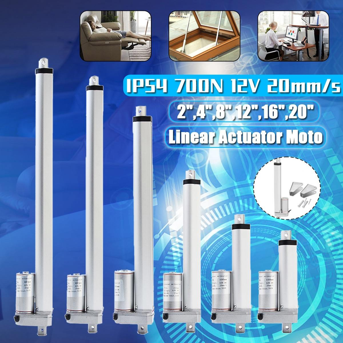 Electric DC 12V Linear Actuator Motor 50 100 200 300 400 500mm 200N Window  20mm/s Opener Aluminum Alloy