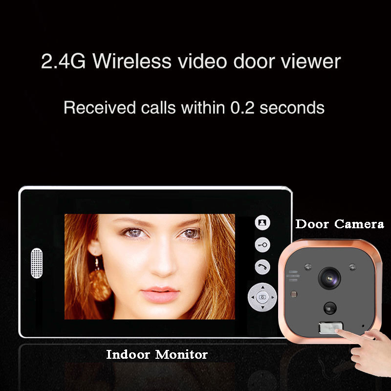 7 Inch Monitor 2.4GHz Peephole Door Viewer Waterproof Voice Talk Intercom Photograph Video Doorbell  Home Smart Video Door Phone