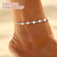 Fashion Crystal Anklets Link Chain Bohemian Gold Silver Color Shoe Boot Chain Bracelet Foot for Women Accessories Summer vintage pure color layered link chain women s boot jewelry