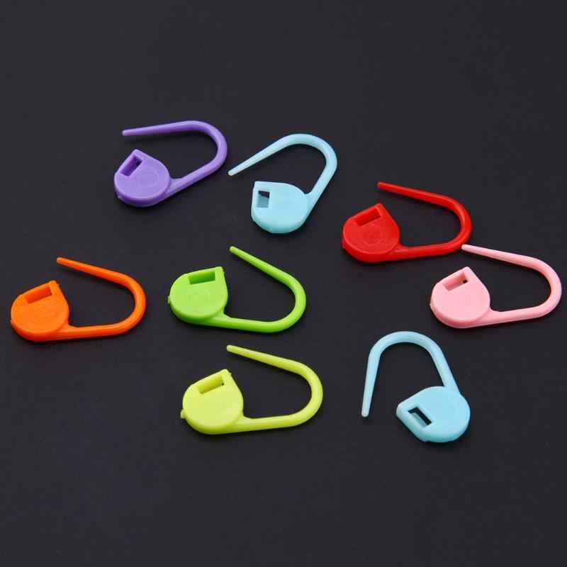 100 Pcs Locking Stitch Marker Pin Lock Cincin Plastik Spidol untuk Merajut Plastik Jahit Jarum Tenun Aksesoris