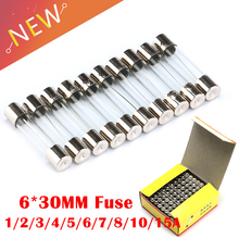 100 Pieces 6*30mm Glass Fuse Tube Fuse 6x30mm Fast Fusing 250V 0.5A 1A 2A 3A 4A 5A 6A 8A 10A 12A 15A 20A 25A 30A 6X30