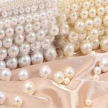 100-1000pcs Resin White Beige Imitation Pearl Beads 2/3/4/5/6/8mm ABS Loose Round Beads For Jewelry Making Mold Filling Tools