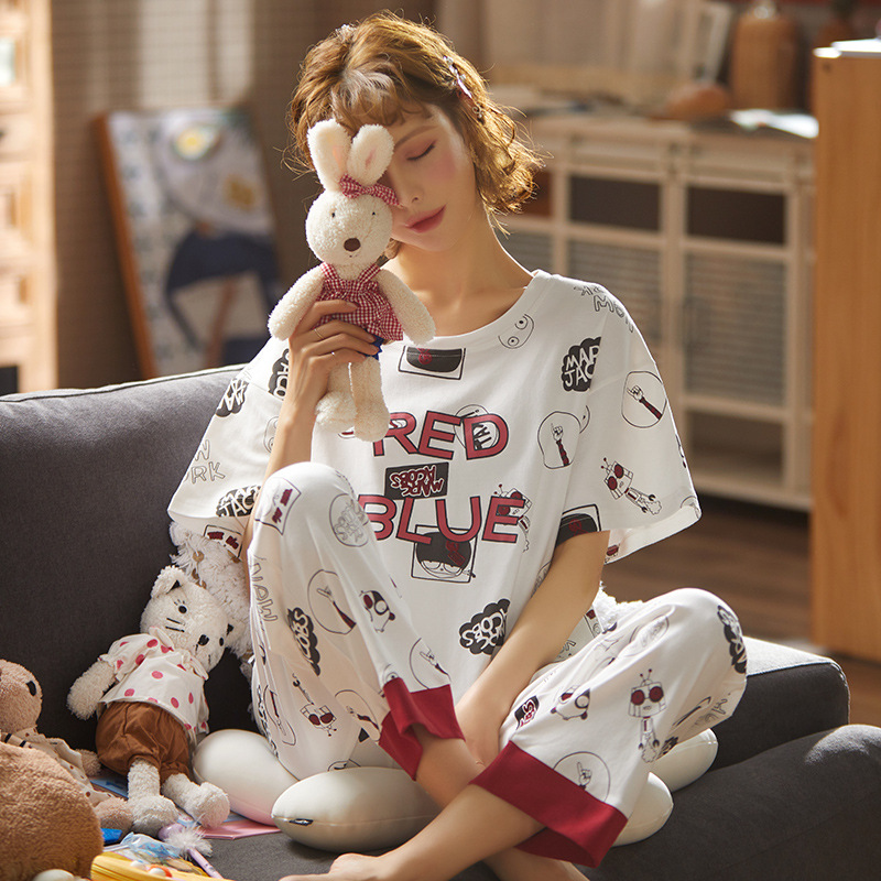 Women Pajamas Set Spring New Thin Cartoon Printed Short Sleeve Cute Sleepwear Casual Homewear Female Pyjamas Homewear Loungewear