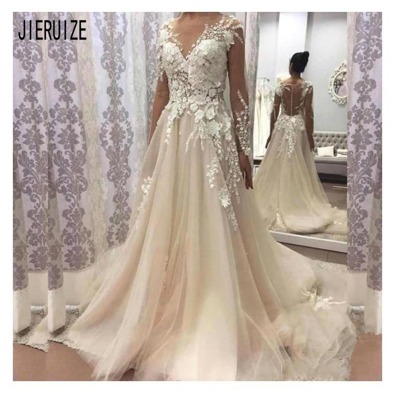 JIERUIZE Ivory Boho Tulle Wedding Dresses Scoop Neck Illusion Long Sleeves 3D Floral Appliques Bridal Gowns Vestido De Novia