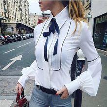 Новинка весны 2020 офисная блузка с галстуком бабочкой женская