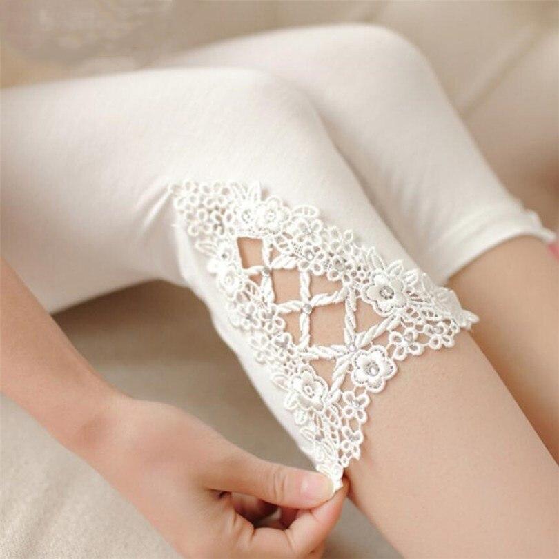 LJCUIYAO Women Capri Leggings Elastic Knitted Hollow Out Pants Women Casual Elastic High Waist Summer Triangle Diamond Lace Pant