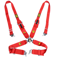 Car 4 Point Seat Belt Quick Release Adjustable Strap Nylon Harness Universal Racing Seat Belt Harness Cam lock with Logo red