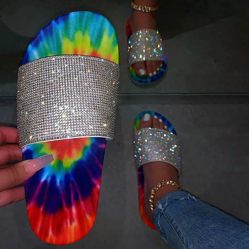 2020-INS-Hot-Rhinestones-Mix-color-Sandals-Women-Summer-Beach-Slipper-Handmade-thick-Bottom-Sandals-Outdoor