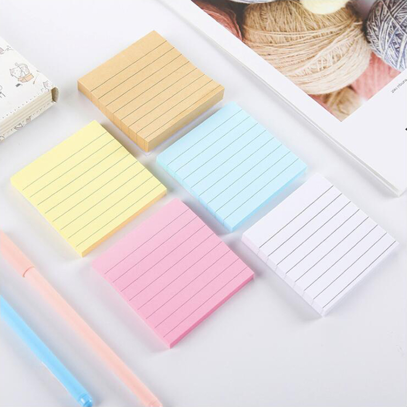 Simple Horizontal Line Sticky Notes Scrapbook Diary Planner Memo Pads Post Sticker Office Stationery School Supplies 80 Sheets