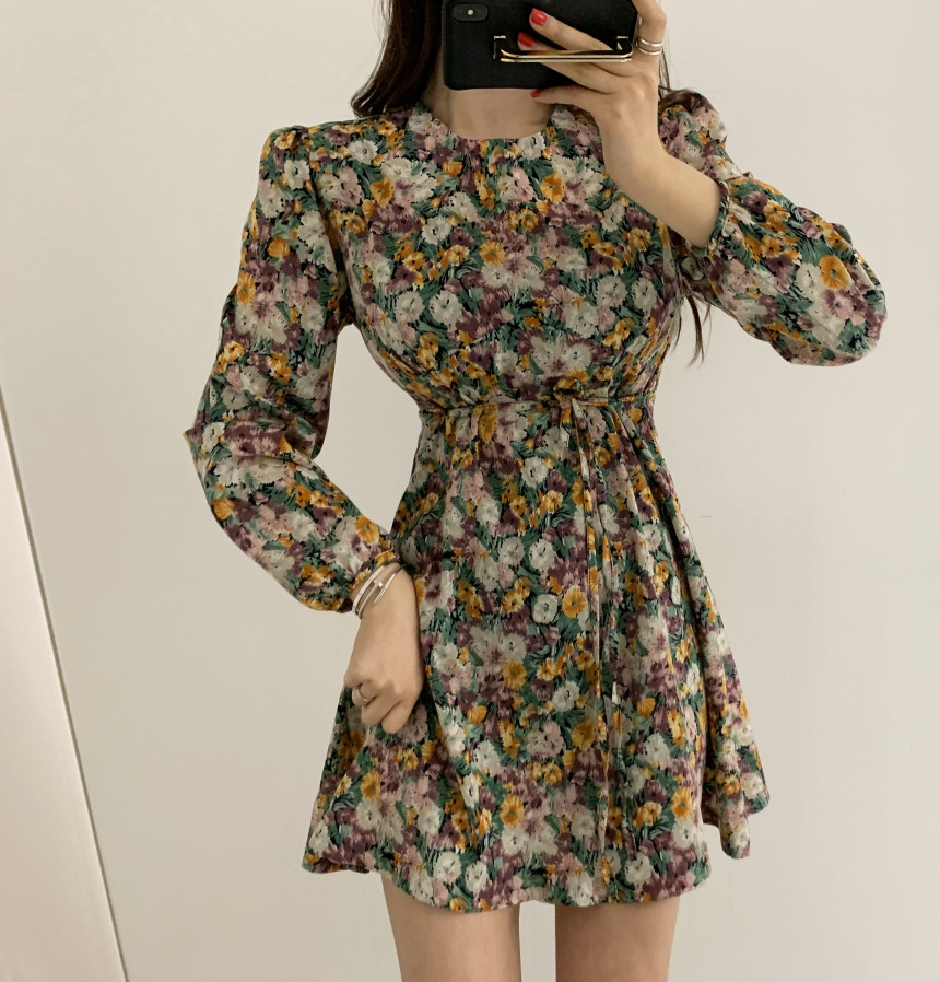 H5e232890f0794d99a81af0d36efcf6e8X - Spring Korean O-Neck Long Sleeves Floral Print Lace-Up Slim Mini Dress