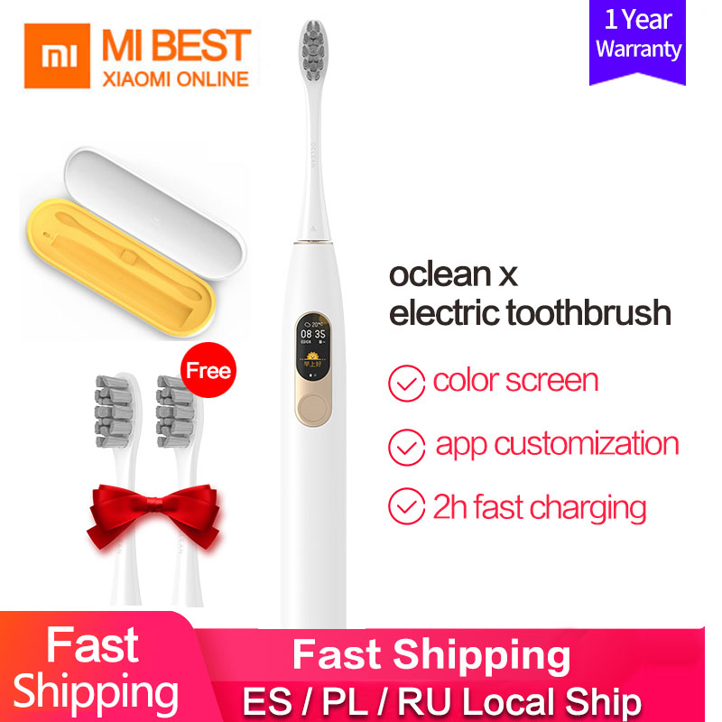 Xiaomi Oclean X Smart Touch Screen Electric Toothbrush Rechargeable Adult Waterproof Ultrasonic Automatic 4 Mode With Travel Box