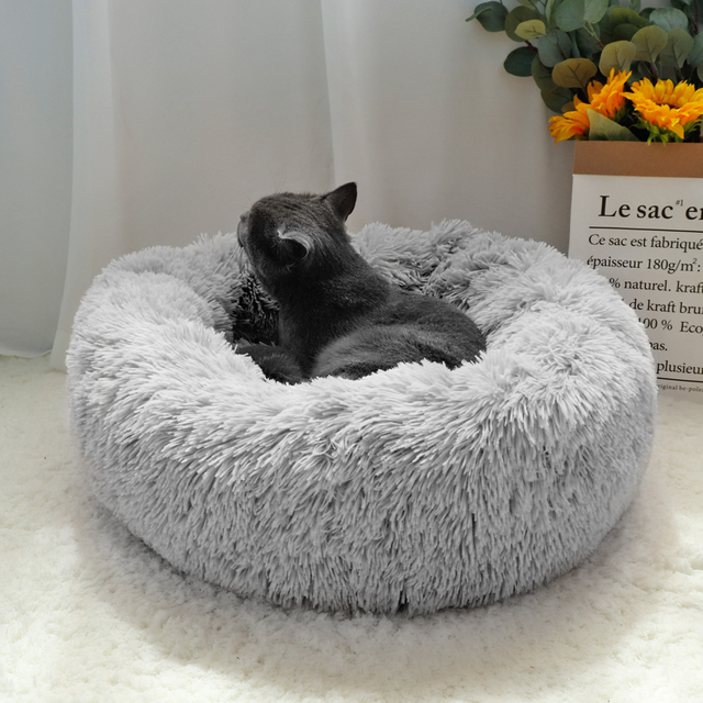 Fluffy Calming Dog Bed Long Plush Donut Pet Bed Hondenmand Round Orthopedic Lounger Sleeping Bag Kennel Cat Puppy Sofa Bed House 1