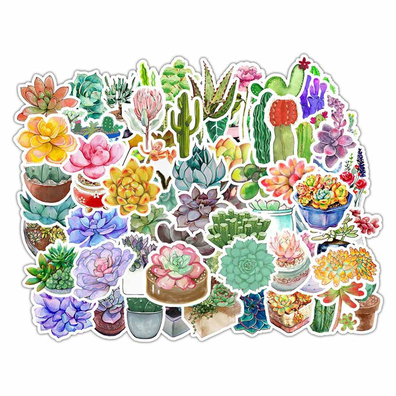 70pcs DIY Wall Sticker Succulents Cactus Pot Plant Flowers Living Room Nursery Sofa Background Wall Mural Art Nordic Wind Cactus