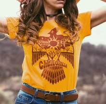 2020 verão joshua tree thunderbird gráfico t feminino plus size 70s 80s vintage ouro t engraçado sudoeste nativo camisa das mulheres