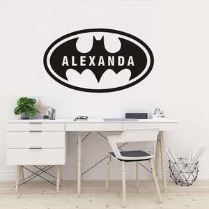 Personalized Name Batman Hero Wall Sticker Bat Boys Room Wall Decal Vinyl Boy Name Wall Stickers Kids Room Mural AY2015