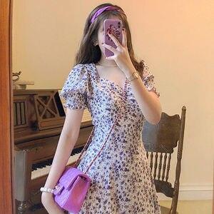 Женское платье миди JuneRain, элегантное ТРАПЕЦИЕВИДНОЕ винтажное платье с коротким рукавом в Корейском стиле на лето 2020, праздничное платье с ...
