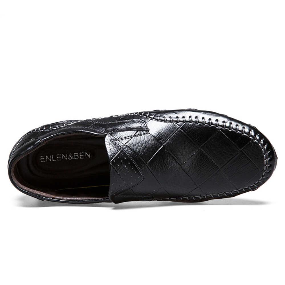 Nieuwe Lederen Schoenen Mannen Casual Mocassins Loafers Volwassen Slip-On Sneakers Flats Zachte Mannelijke Comfortabele Schoenen 2019 Plus size