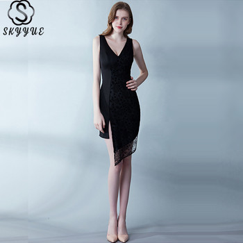Skyyue Cocktail Dress Lace Solid V-Neck Robe Cocktail Tank Sleeveless Short Cocktail Dresses A-Line Robe Cocktail Gown H113 фото
