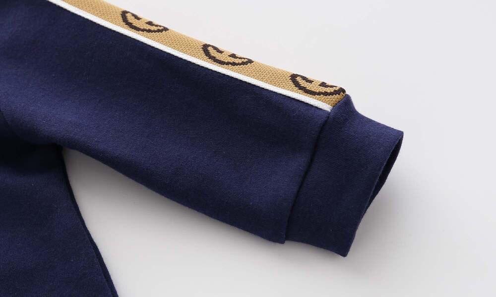 Новый весенне-осенний модный брендовый Стиль Одежда для новорожденных темно-синий вязаный хлопковый комбинезон с длинным рукавом для мальчиков и девочек от 0 до 24 месяцев 4