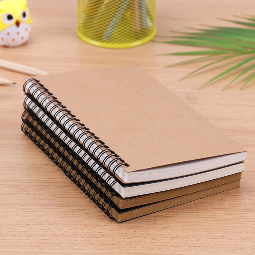 Creative Simple Kraft Paper Material Double Coil Ring Spiral Notebook Sketchbook Diary For Drawing Painting Paper Notepad