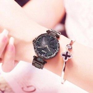 Image 2 - DOM Luxury Fashion Women Watches Lady Watch Stainless Steel Dress Women Bling Rhinestone Watch Quartz Wrist Watches G 1258BK 1MF